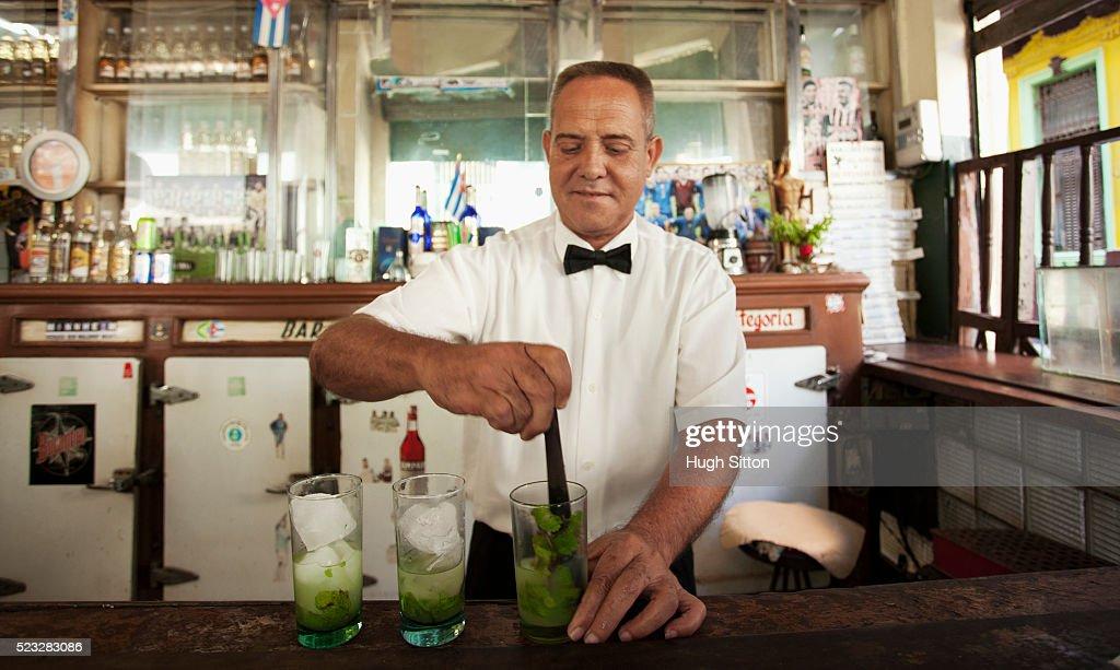 Barman in Havana, Cuba. : Stock Photo
