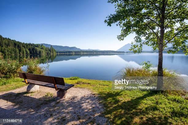 barmsee lake, landscape in summer day. bavaria, germany. - sitzbank stock-fotos und bilder