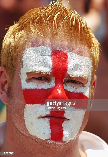 Barmy Army fan cheers on the England team against Australia during day three of the First Ashes Test played between Australia and England held at the...