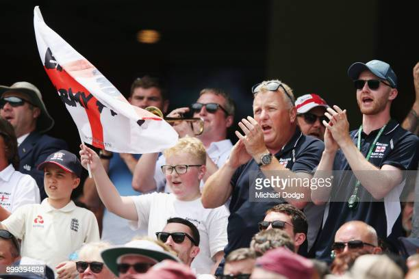 Barmy Army member sings during day four of the Fourth Test Match in the 2017/18 Ashes series between Australia and England at Melbourne Cricket...