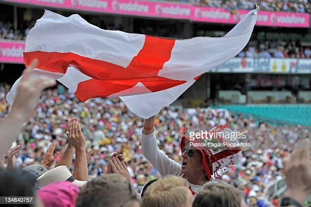 Barmy Army ringleader Saville cheers away, Australia v England , 5th Test, Sydney, January 2010-11.