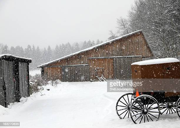 Barn and Buggy in Snow