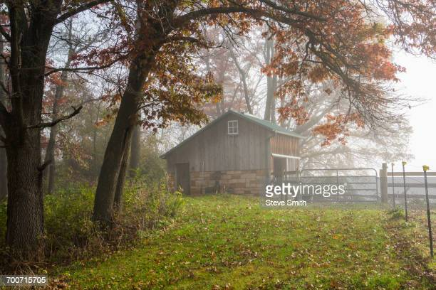 Barn and fence in autumn