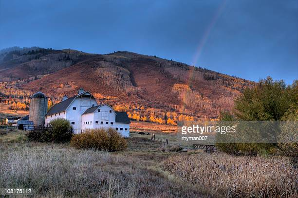 barn and rainbow - park city stock pictures, royalty-free photos & images