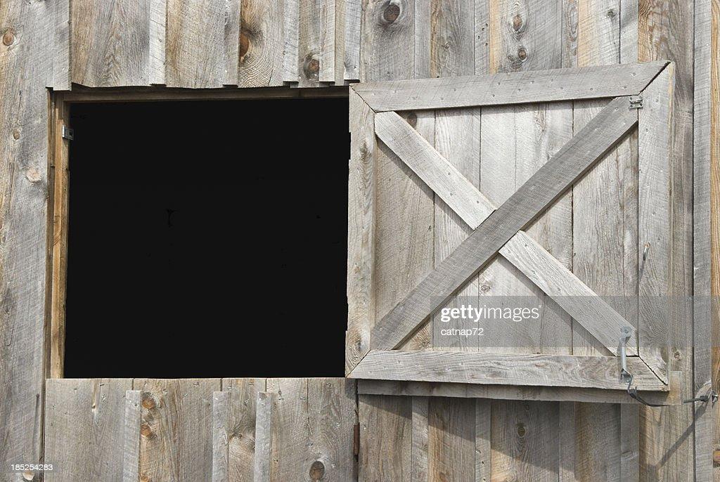 Barn Dutch Door Open To Black, Weathered Wood, Design Element
