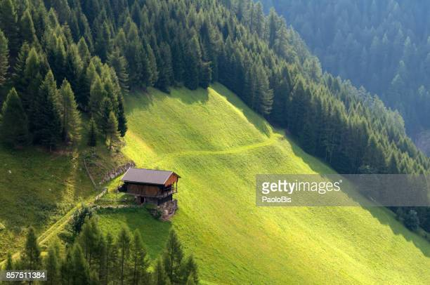 a barn in val di fundres, val pusteria, alto adige - eco tourism stock pictures, royalty-free photos & images