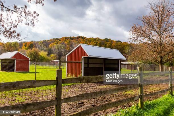 Barn on rural farm, Fairport, New York, United States