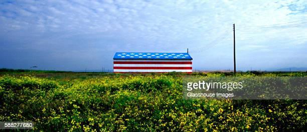 Barn Painted as American Flag