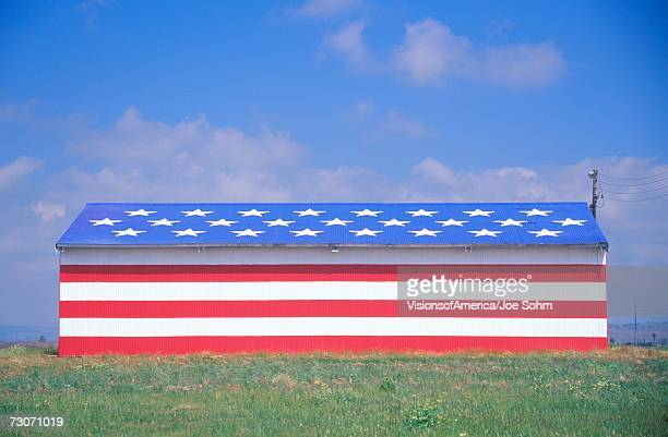 'Barn Painted Like American Flag, Central California'