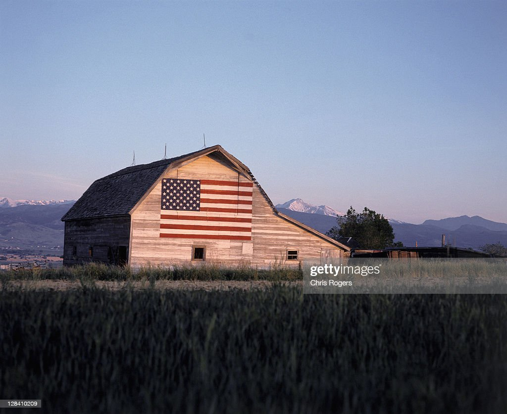 barn w/ us flag, co : Stock Photo