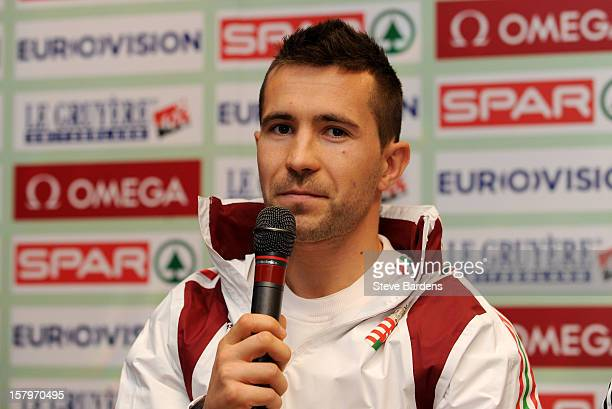 Barna Bene of Hungary talks to the media during a press conference for the 19th SPAR European Cross Country Championships at the Ramada Aquincum...