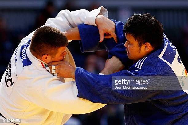 Barna Bor of Hungary and SungMin Kim of South Korea compete during the Dusseldorf Judo Grand Prix in their Mens 100kg bout held at Mitsubishi...