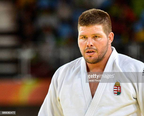 Barna Bor of Hungary defeated Faicel Jaballah of Tunisia to win their o100kg contest during day 7 of the 2016 Rio Olympic Judo on Friday August...