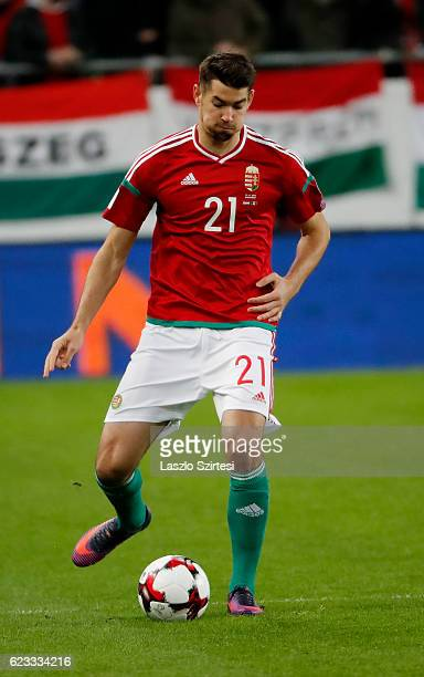 Barnabas Bese of Hungary passes the ball during the FIFA 2018 World Cup Qualifier match between Hungary and Andorra at Groupama Arena on November 13...