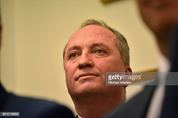 Barnaby Joyce after the election of a new leader of The Nationals on February 26, 2018 in Canberra, Australia. Former National Party leader Barnaby...