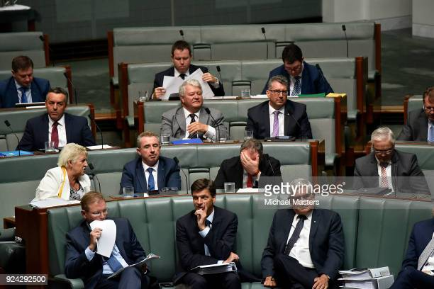 Barnaby Joyce listens to the proceedings during Question Time at Parliament House on February 26, 2018 in Canberra, Australia. Veterans Affairs...