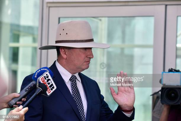 Barnaby Joyce speaks to the press on February 16 2018 in Canberra Australia Mr Joyce announced last week that he had separated from his wife and was...