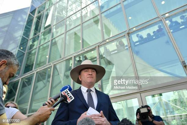 Barnaby Joyce speaks to the press on February 16, 2018 in Canberra, Australia. Mr Joyce announced last week that he had separated from his wife and...
