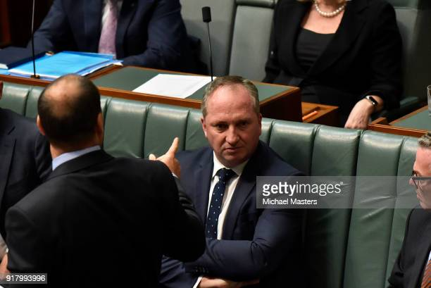 Barnaby Joyce the Deputy Prime Minister during Question Time on February 14 2018 in Canberra Australia Mr Joyce announced last week that he had...