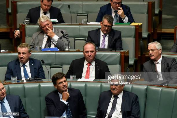 Barnaby Joyce watches on during Question Time at Parliament House on February 26, 2018 in Canberra, Australia. Veterans Affairs Minister Michael...