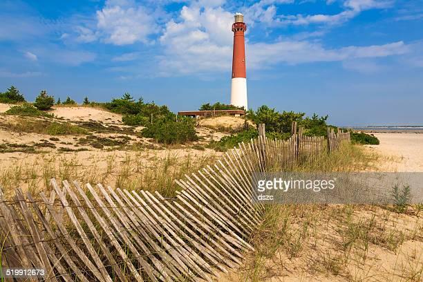 Barnegat Lighthouse, sand, beach, dune fence, New Jersey