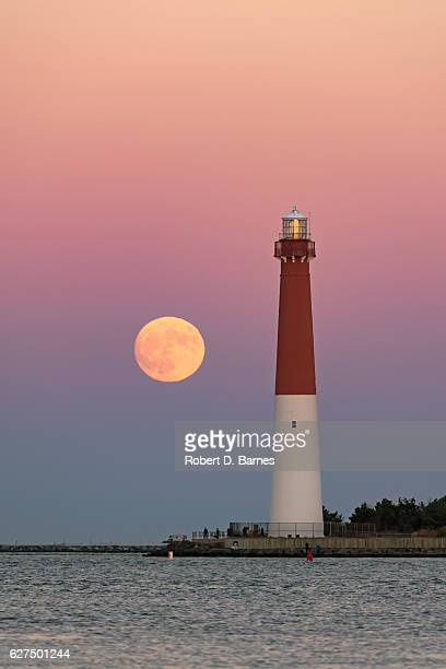 Barnegat Lighthouse with Full Moon