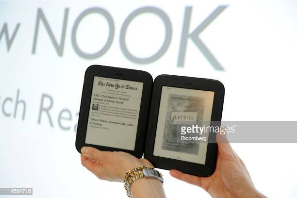 Barnes Noble Inc Nook electronic readers are displayed for a photograph during an event in New York US on Tuesday May 24 2011 Barnes Noble Inc the...