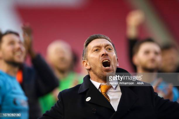 Barnet caretaker manager Darren Currie celebrates at full time of the FA Cup Third Round match between Sheffield United and Barnet at Bramall Lane on...
