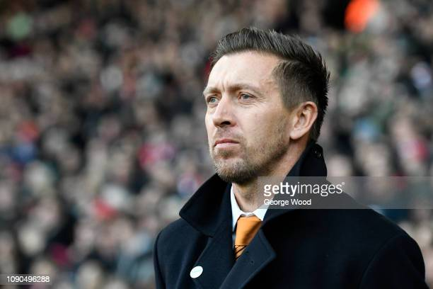 Barnet manager Darren Currie looks on during the FA Cup Third Round match between Sheffield United and Barnet at Bramall Lane on January 06 2019 in...