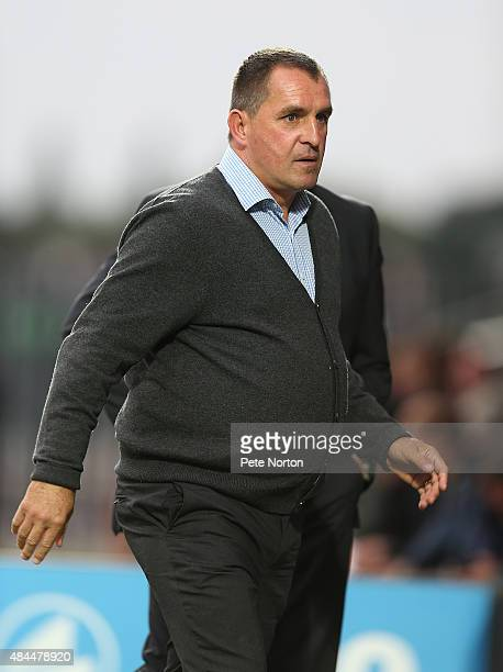Barnet manager Martin Allen walks to the bench prior to the Sky Bet League Two match between Barnet and Northampton Town at The Hive on August 18...