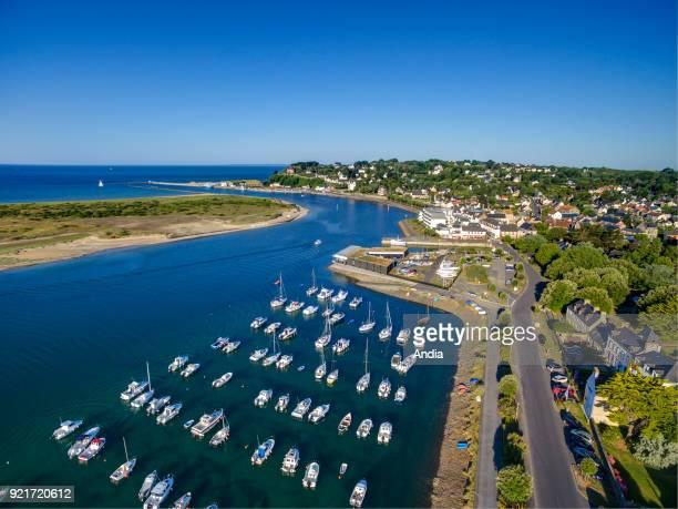 BarnevilleCarteret aerial view of the harbour in the estuary 'Estuaire de la Gerfleur' known as the 'Havre de Carteret'