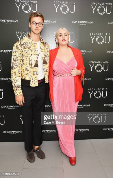 Barney Banks and Felicity Hayward attend the Emporio Armani You Fragrance launch at Sea Containers on July 20 2017 in London England