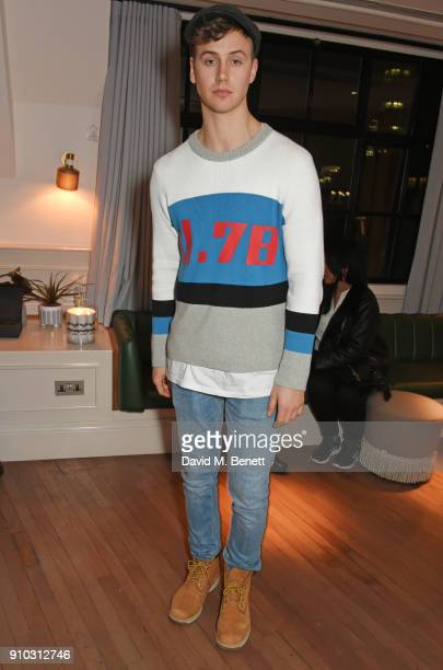 Barney Banks attends the launch of Teresa Tarmey's new 'at home facial system' at Mortimer House, sponsored by CIROC, on January 25, 2018 in London,...
