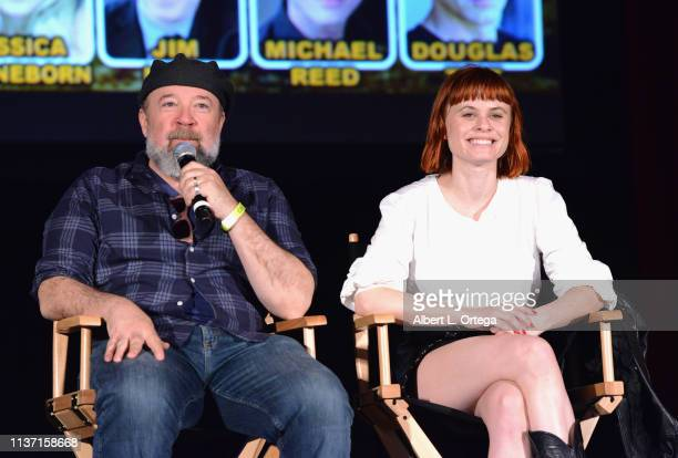 Barney Burman and Augie Duke promote 'Barney Burman's Wild Boar' onstage on day 2 of Monsterpalooza held at Pasadena Convention Center on April 13...
