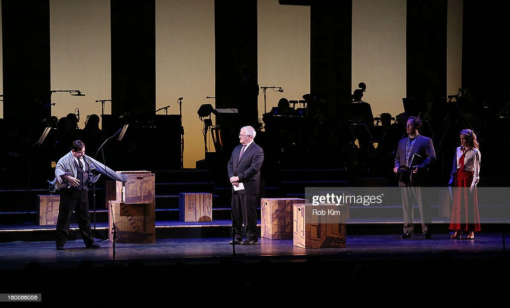 Barney Frank (C) makes his stage debut in 'Fiorello!', with actor Danny Rutigliano (L) playing Fiorello LaGuardia, at New York City Center on February 2, 2013 in New York City.