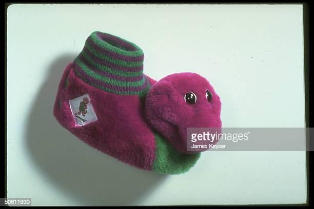 Barney the Dinosaur slipper for tiny foot re star character of popular public TV children's show Barney Friends