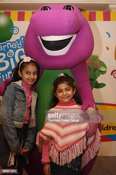 Barney the friendly dinosaur has some young admires at the Barney And Friends Maiden Voyage To India at InterContinental Nehru Place New Delhi