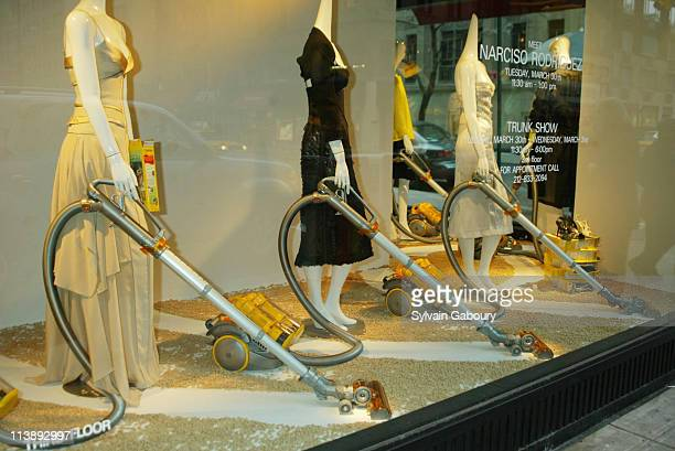 Barney's New York windows with Dyson Vacuums during Launch party for the Dyson DC11 Telescope Vacuum in New York New York United States
