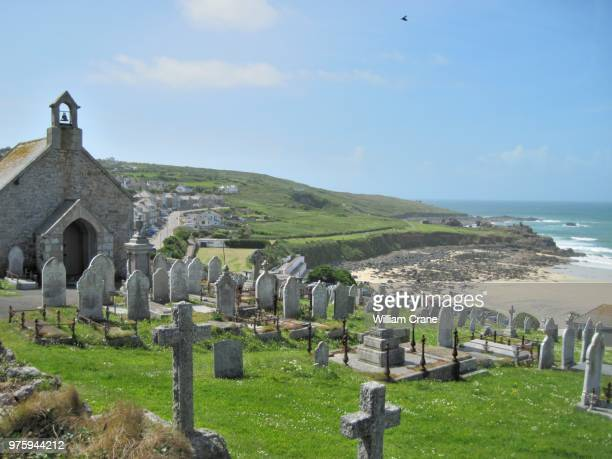 barnoon cemetery, st. ives, cornwall, uk - st ives stock pictures, royalty-free photos & images