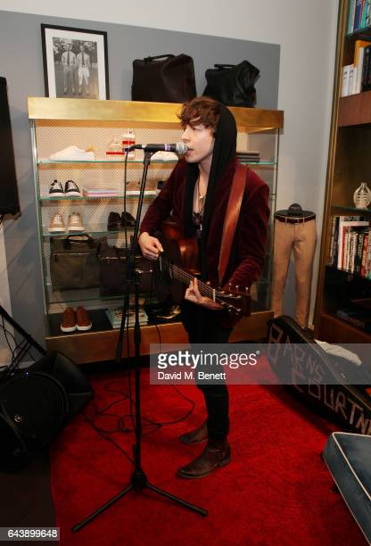 Barns Courtney performs at the Slowear London Launch on February 22 2017 in London England
