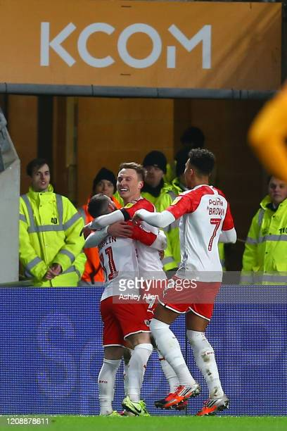 Barnsley FC celebrate a goal during the Sky Bet Championship match between Hull City and Barnsley at KCOM Stadium on February 26 2020 in Hull England