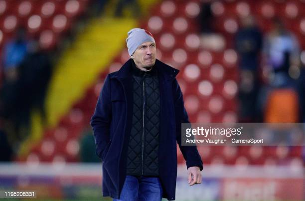 Barnsley manager Gerhard Struber leaves the pitch following the Sky Bet Championship match between Barnsley and Preston North End at Oakwell Stadium...