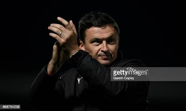 Barnsley manager Paul Heckingbottom applauds fans after winning the Sky Bet Championship match between Burton Albion and Barnsley at Pirelli Stadium...