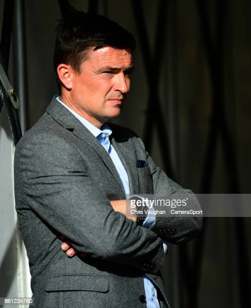 Barnsley manager Paul Heckingbottom during the prematch warmup prior to the Sky Bet Championship match between Barnsley and Middlesbrough at Oakwell...