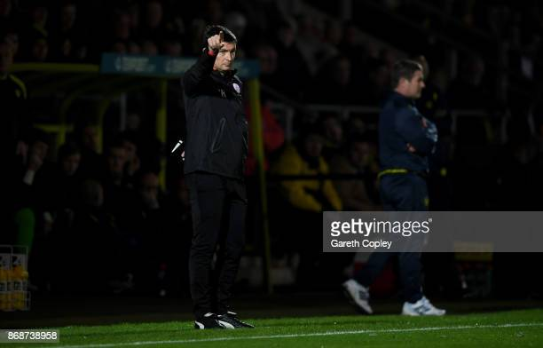 Barnsley manager Paul Heckingbottom points from the touchline during the Sky Bet Championship match between Burton Albion and Barnsley at Pirelli...