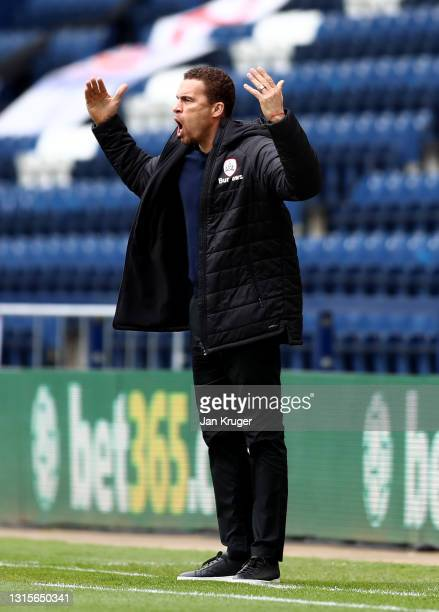 Barnsley manager Valerien Ismael looks on during the Sky Bet Championship match between Preston North End and Barnsley at Deepdale on May 01, 2021 in...