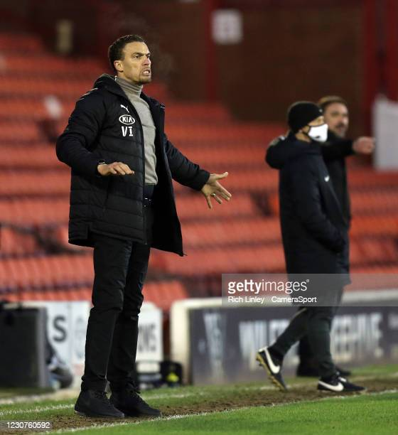 Barnsley manager Valerien Ismael reacts from his technical area during the The Emirates FA Cup Fourth Round match between Barnsley and Norwich City...