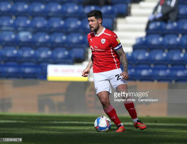 Barnsley's Alex Mowatt during the Sky Bet Championship match between Preston North End and Barnsley at Deepdale on May 1, 2021 in Preston, England.