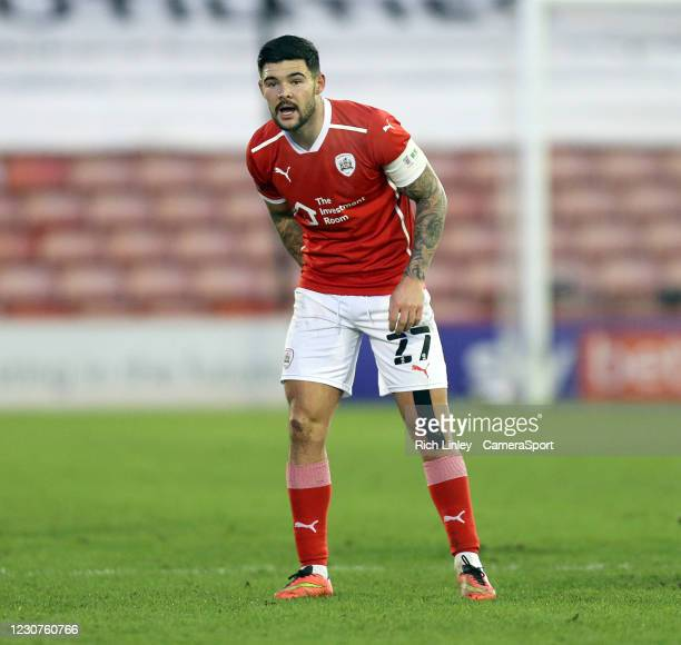 Barnsley's Alex Mowatt during the The Emirates FA Cup Fourth Round match between Barnsley and Norwich City at Oakwell Stadium on January 23, 2021 in...