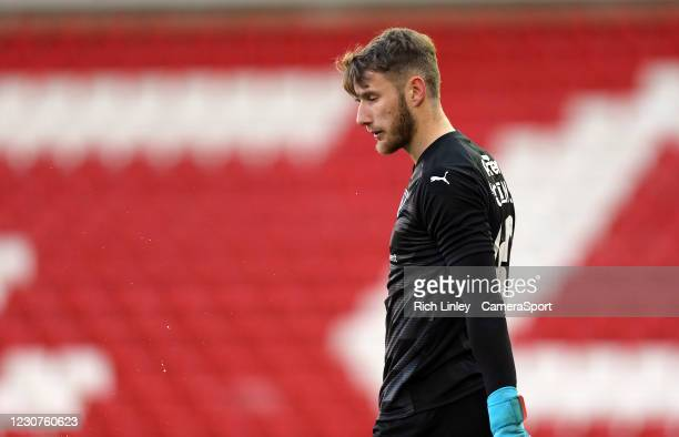 Barnsley's Bradley Collins during the The Emirates FA Cup Fourth Round match between Barnsley and Norwich City at Oakwell Stadium on January 23, 2021...